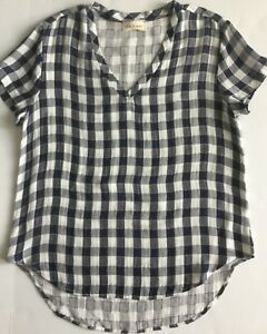 45010dd1 NEW CLOTH & STONE WOMEN SzS V-NECK SHORT SLEEVE CHECK TOP BLOUSE ...