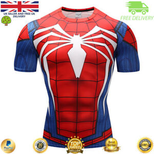 Mens-compression-top-gym-superhero-avengers-marvel-muscle-spider-man-MMA-Cycling