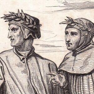 Portrait-XIXe-Dante-Alighieri-Durante-degli-Alighieri-Petrarque-Petrarca-1838