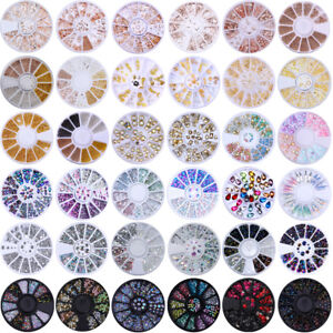 3D Nail Decoration in Wheel Rhinestones Studs Acrylic Tips Nail Art Manicure