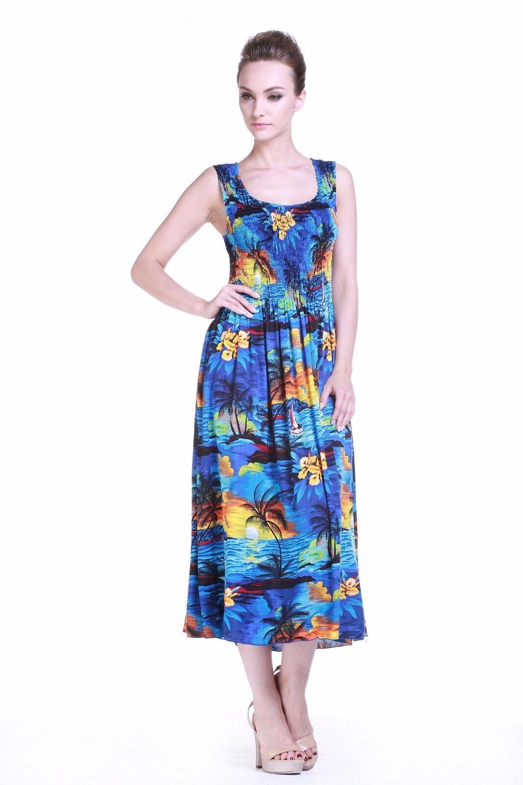 2864d52276c Plus Size Maxi Tropical Luau Sun Dress Cruise Tank Elastic Floral Sunset  Blue