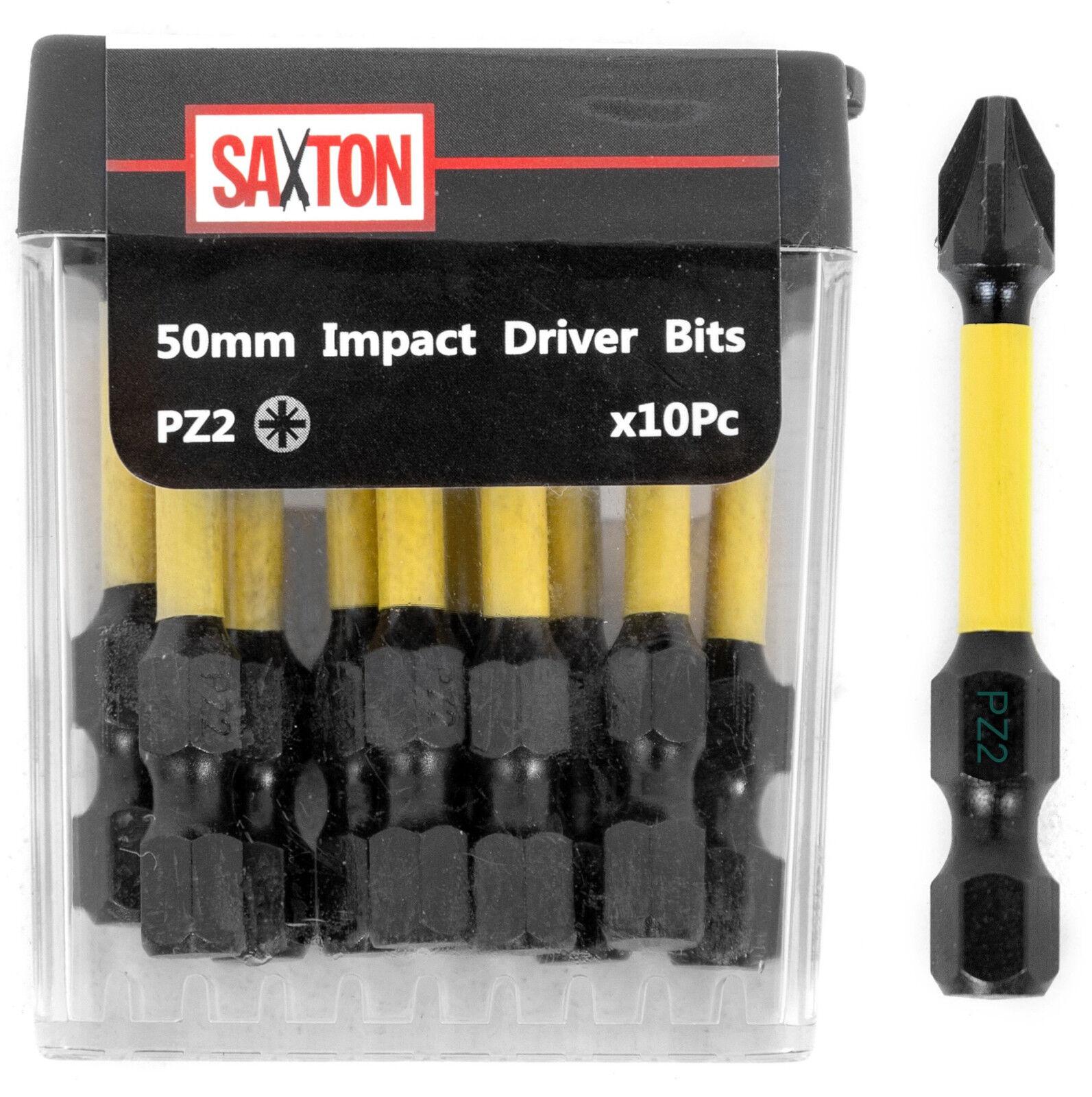 Saxton 10 x PZ2-50mm Pozi-drive 2 Impact Duty Screwdriver Drill Bits Set