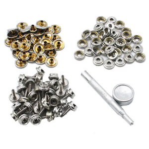 """90pcs Boat Cover Canvas Snaps with Tool 30 Set 3//8/"""" Socket Caps 10mm Screws Kit"""