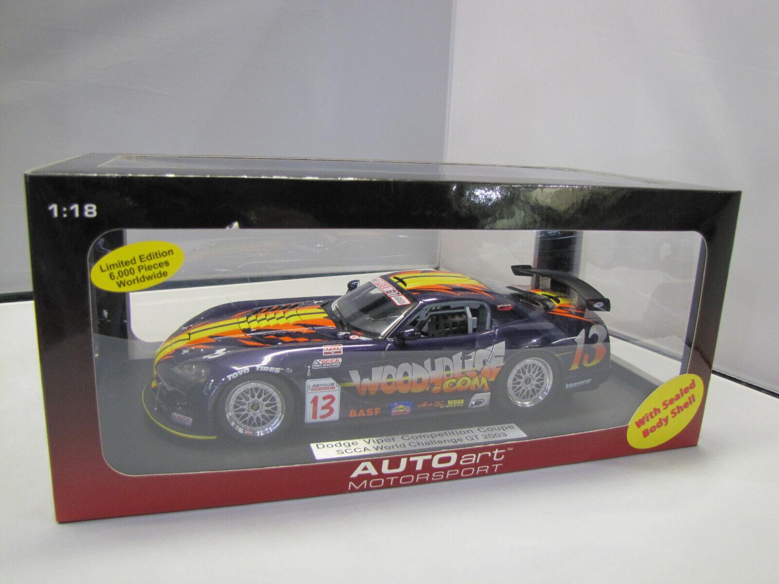 ottima selezione e consegna rapida 80423 80423 80423 Autoart Dodge Viper Competition Coupe SCCA World Chtuttienge GT 2003 - 1 18  forniamo il meglio