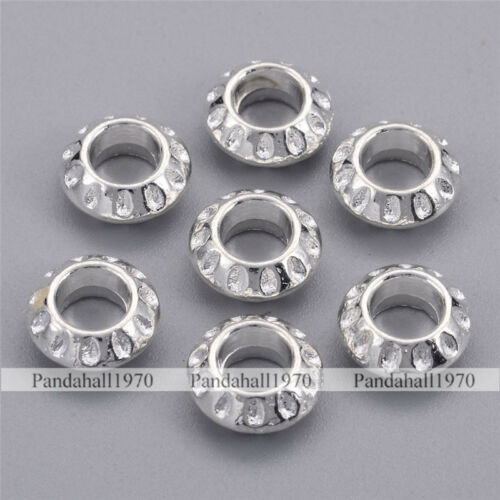 50x Silver Color Rondelle Tibetan Silver European Large Hole Beads Crafts 10x5mm