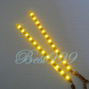 2x-Amber-Yellow-12-LEDs-30cm-11-8-034-5050-SMD-LED-Strip-Light-Waterproof-12V-DIY
