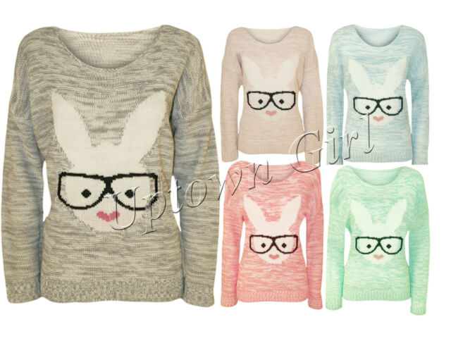 WOMENS LADIES SEXY GEEK BUNNY RABBIT GLASSES KNITTED HEART JUMPER SWEATER TOP