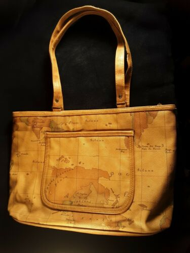 Vintage Gitano Handbag World Map Print Very Good C