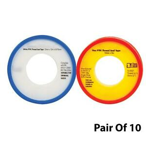 Pair-Of-10-12mm-PTFE-Tape-Water-amp-Gas-tape-For-Pipe-Thread-Seal-Teflon-Tape