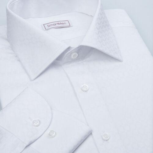 White on white men/'s dress shirts Twill Easy Care cottonElegant plaid pattern