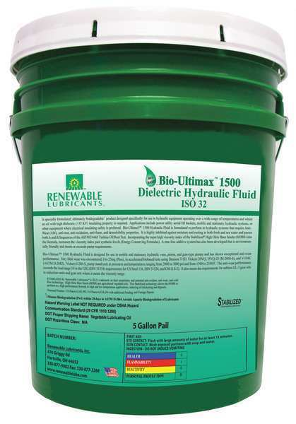 Dielectric Hydraulic Oil, ISO 32, 6 gal. RENEWABLE LUBRICANTS 81054