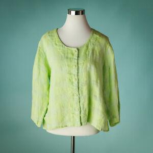 Flax-Medium-Size-M-Top-Blouse-Shirt-Jacket-Linen-Button-Down-Plaid-Boxy-Green