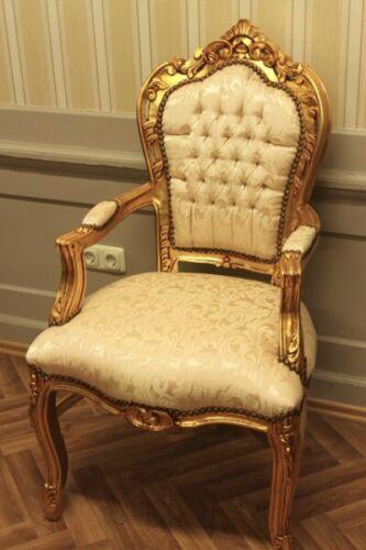 Barock Sessel Armlehner in gold-hellbeige LouisXV Antik Stil Rokoko AlCh0690AGoB
