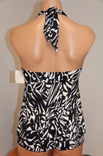 INC International Concepts Swimsuit Bikini Tankini Top Plus Sz 16W BLK Halter