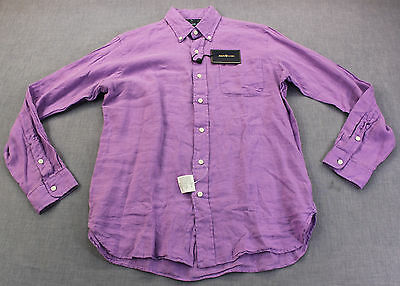 RALPH LAUREN POLO Mens PURPLE 100% LINEN CUSTOM FIT SHIRT  NWT  M $145