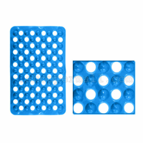 2x Solid Color Non-Slip Bathtub Shower Mat with Drain Holes Suction Cups Base B2