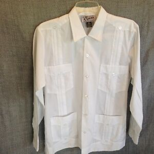 Evan-Men-039-s-36-Guayabera-White-Long-Sleeve-Dress-Shirt