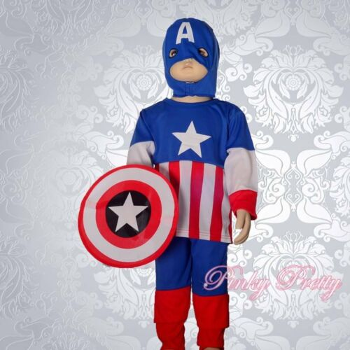 Superhero Captain America Fancy Costume Mask Shield Party Halloween Boy 3-4y 030