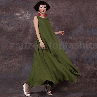 New Zanzea S-5XL Women Sleeveless Loose Shirt High Split Shirred Long Maxi Dress