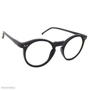 6c6c1f05b1b Black Keyhole Depp Style Round Glasses CLEAR Lens Geek Frame 1920s ...
