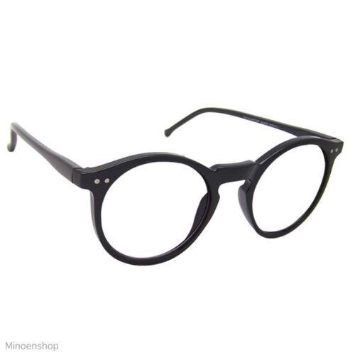 dcb662c705 Black Keyhole Depp Style Round Glasses CLEAR Lens Geek Frame 1920s VTG