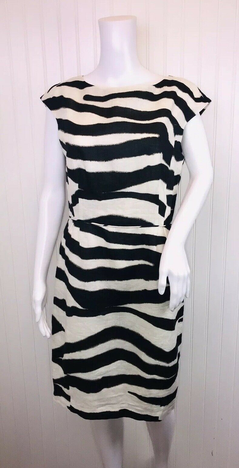 Banana Republic Women's Size 10 Sheath Dress Ivory Black Animal Print 100% Linen