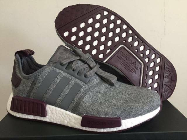 Adidas NMD R1 Grey Wool Maroon White CQ0761 Exclusive Boost