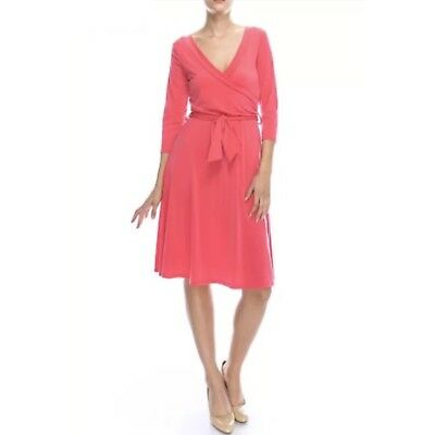 S * BEAUTIFUL Janette CORAL Knee Length DRESS Stretch Jersey FAUX WRAP