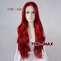 Fashion 26 Inches Long Red Curly Heat Resistant Women Hair Party Lace Front Wig