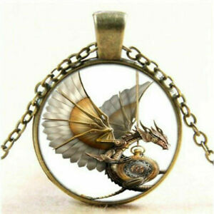 Drachen-Cabochon-Glas-Bronze-Vintage-Steampunk-Anhaenger-Halskette-Damen-Schmuck