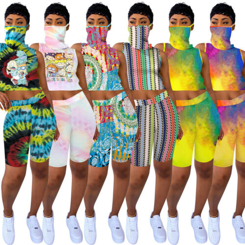 NEW Fashion Women/'s Cartoon Print Sleeveless Casual Pants Set with Face Cover