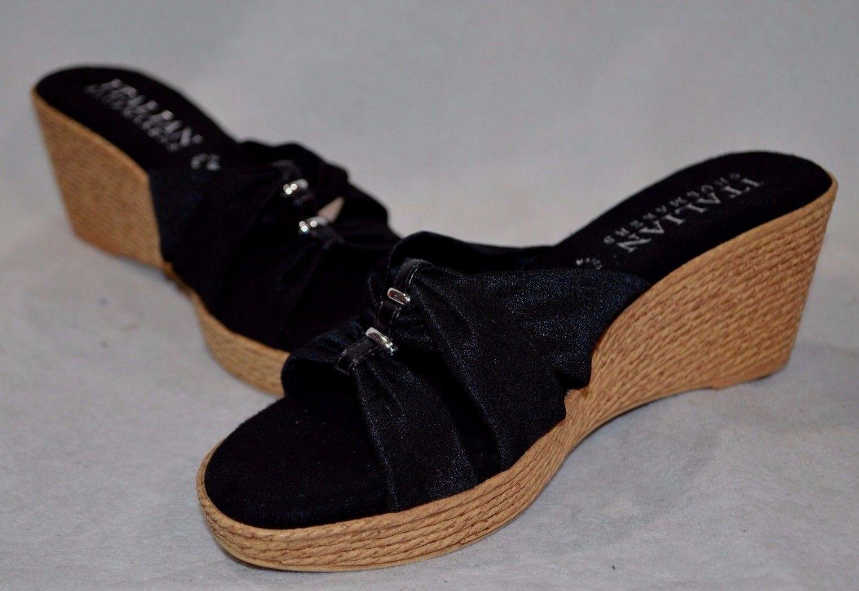 45052355500 Italian Shoemakers Melina Wedge Sandals Color Black Size Us  10