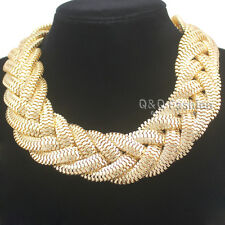 Vintage Gold Egypt Cleopatra Bold Snake Braided Chain Statement Bib Necklace Top