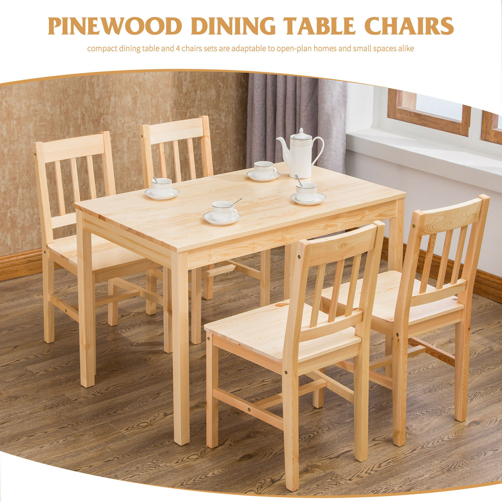 Natural Solid Pine Wood Dining Table And 4 Chairs Set Home Kitchen