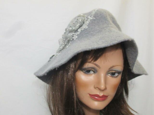 f2e17314c64 August Hats Applique Floppy Hat Grey Womens One Size for sale online ...