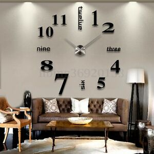 Grand-Silence-Trendy-DIY-3D-Horloge-Murale-Pendule-Montre-Art-Decor-Salon-Maison