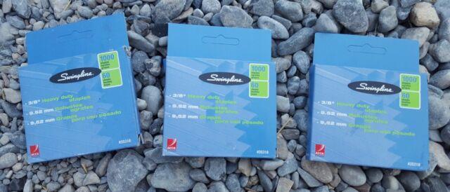 "2 Boxes Swingline 35318 Heavy Duty 3//8/"" Leg Staples 60 Sheet Capacity 1000 Count for sale online"