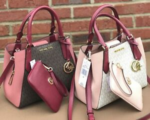 1c907ffdd9f6 Image is loading Michael-Kors-Kimberly-MK-Signature-Vanilla-Pink-Brown-