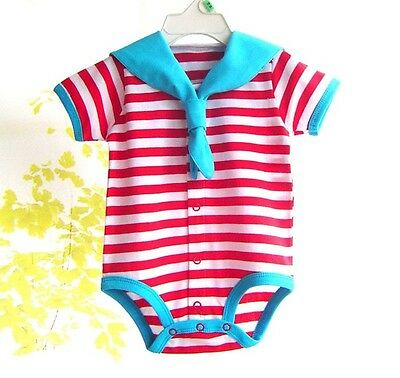 New Baby Boys Girls Romper Clothes Navy Tie Infant toddler Romper Summer 0-12M