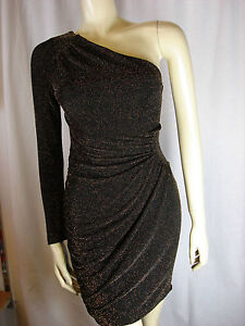 106744d1011d Image is loading Lipsy-Sparkly-Gold-One-Shoulder-Dress-Sizes-8-