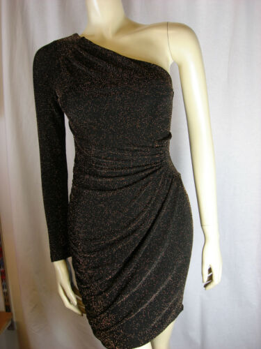 Lipsy Sparkly Gold One Shoulder Dress Sizes 8 10 12 14