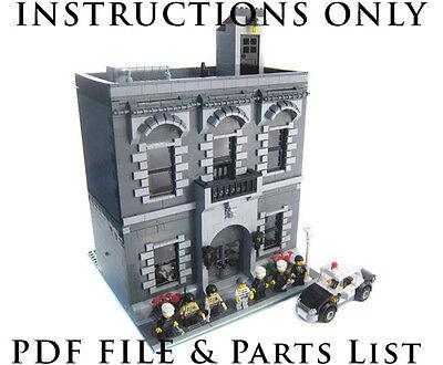 Lego Custom Modular Building - Police Station Precinct -INSTRUCTIONS ONLY! 10182