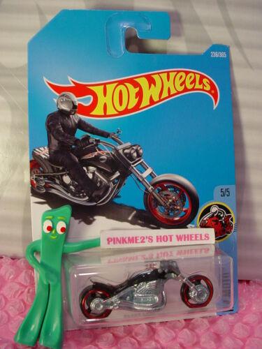BLAST LANE #236✰Black motorcycle;red//white//blue✰MOTO✰2017 i Hot Wheels case K//L