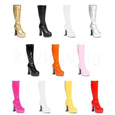 Womens Ladies Mens White  Knee High Eyelet Platform Disco Fancy Dress Boots