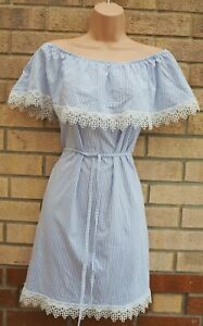 WHITE-BLUE-STRIPED-BARDOT-LACE-CROCHET-TRIM-BELTED-A-LINE-SLIP-SUMMER-DRESS-12-M