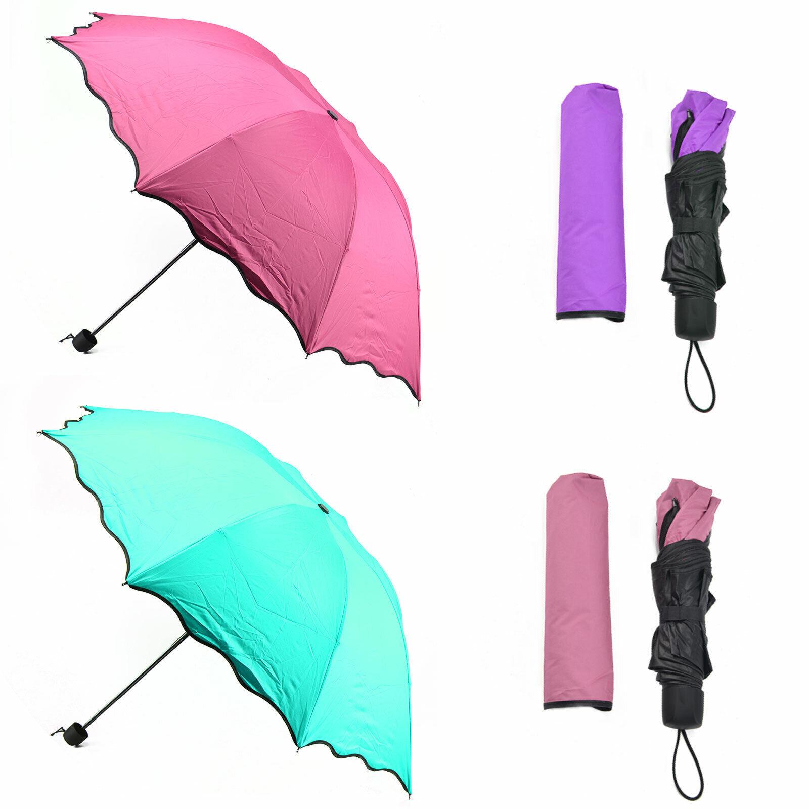 Windproof Anti-uv Sun Rain Umbrellas Colour Changing Compact Flowers Folding