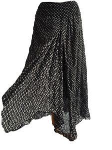 Sandwich Gypsy Midi Skirt Geometric Print Boho Western Asymmetric Net Size M