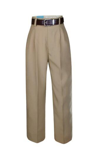Boy Toddler Kid Formal Wear Uniform Pants in Taupe with belt sz 2T 3T 4T 4,5,6,7