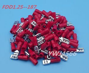100Pcs-Red-FDD1-25-187-4-8mm16-22AWG-Insulated-Female-Spade-Wire-Crimp-Terminal
