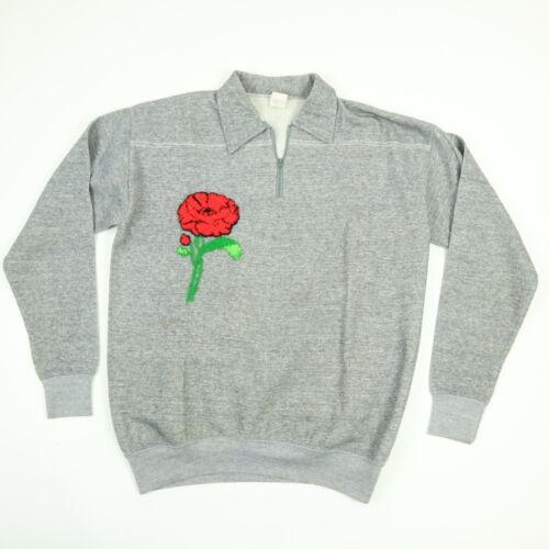 Vtg 60s Sweatshirt Womens L Gray Rayon Blend Embro